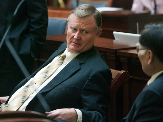 In this Jan. 28, 2013, file photo, Sen. Evan Vickers,
