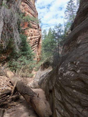 The entrance to Hidden Canyon is more of a narrow ravine than a canyon.