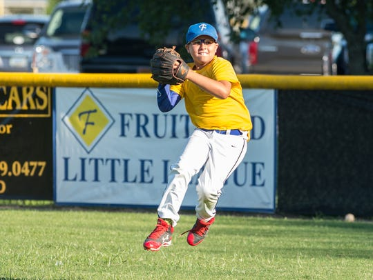 A Fruitland outfielder throws the ball during practice