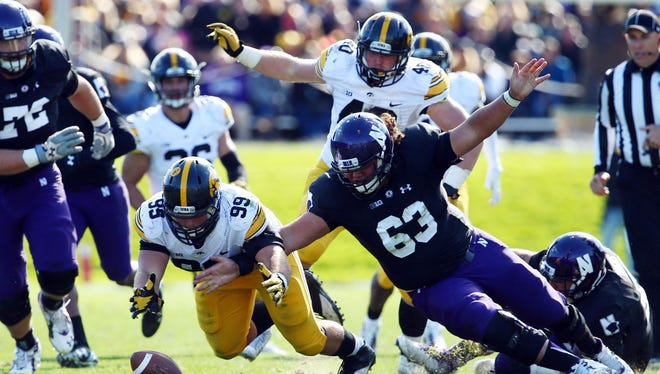 Nathan Bazata (No. 99), Iowa have 56-30 edge on teammates in points after turnovers.