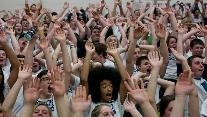 Yale students cheer during a Class B district basketball game Friday, March 13, 2015 at Richmond High School. Yale beat Imlay City 59-43.