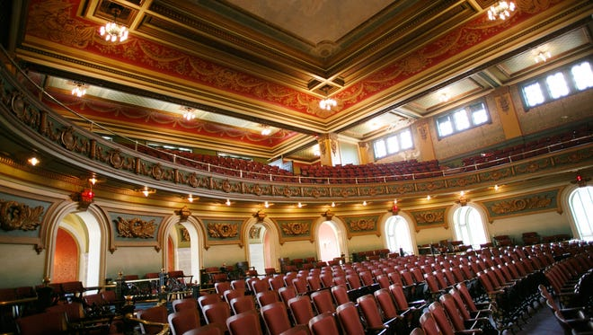 Inside Memorial Hall in Over-the-Rhine, the 108-year-old, beaux arts-style building.