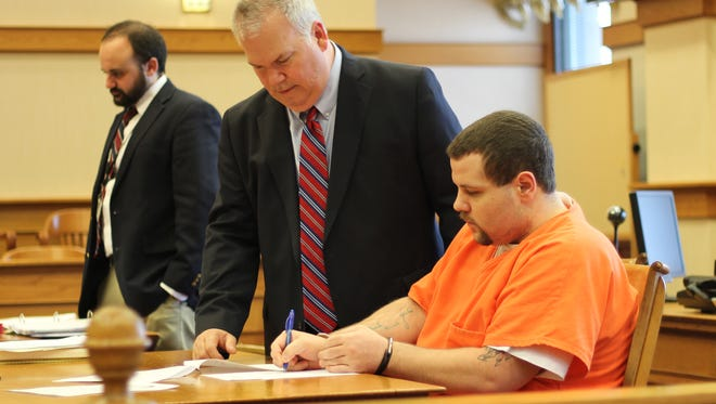 Arron Blevins, right, pleaded guilty to rape  in Ottawa County Common Pleas Court.