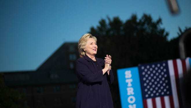 Democratic presidential nominee Hillary Clinton arrives at Ohio State University on October 10, 2016 in Columbus, Ohio.