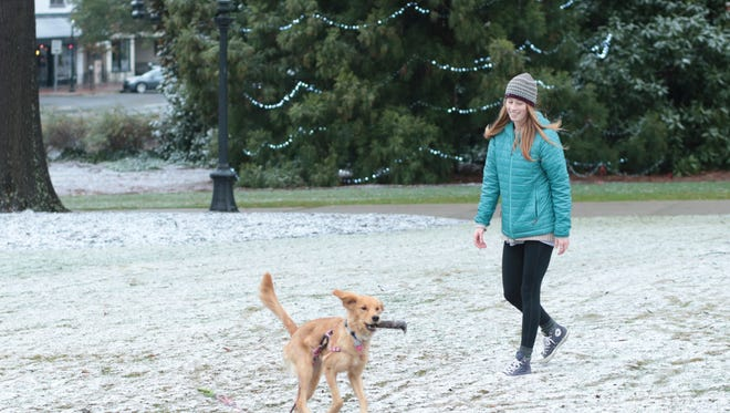 Emma Dawson walks with her 7-month-old golden retriever, Indy, on the North Campus of the University of Georgia after a wintry mix came through Athens, Ga., Saturday, Jan. 7, 2017. (John Roark/Athens Banner-Herald via AP)