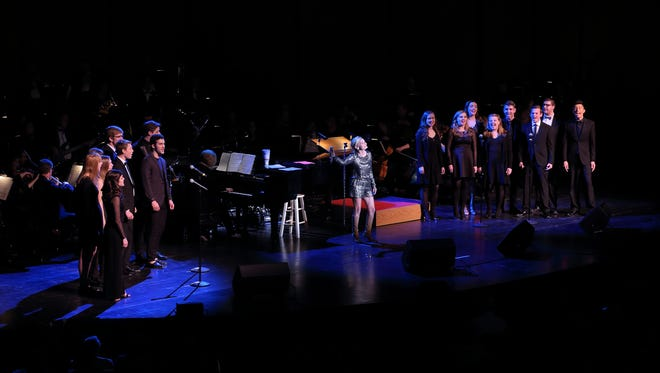 Drake University musical theater students and high school students from Des Moines, Indianola, West Des Moines and Spencer perform with singer Kristin Chenoweth on Saturday, Feb. 25, at the Des Moines Civic Center.
