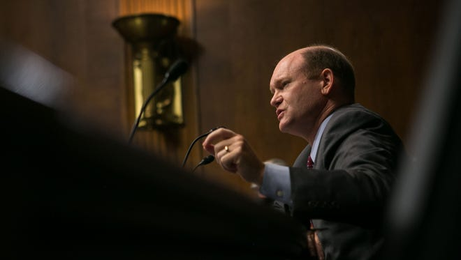 Sen. Chris Coons takes part in a Senate Judiciary Committee hearing on Sept. 20, 2016.