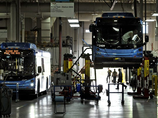 A nearly completed bus is elevated above the floor at a portion of the New Flyer plant in St. Cloud in 2012.