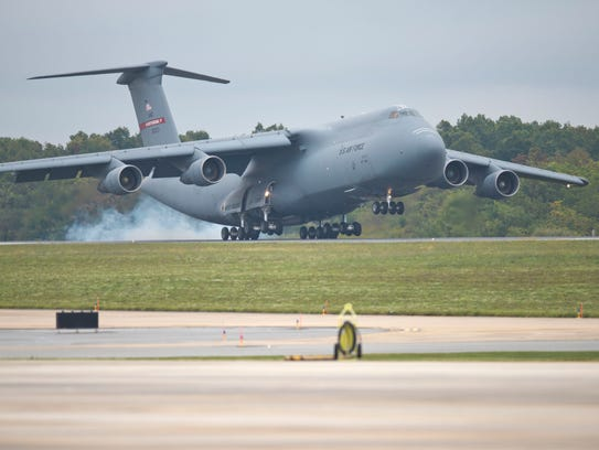 The first C-17 Globemaster III arrived at the 167th