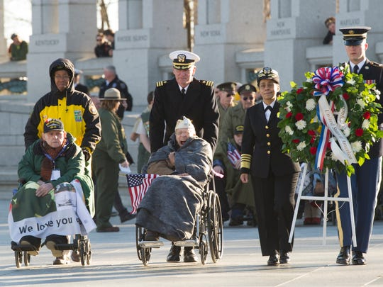 Pearl Harbor survivors from Austin, Texas, visiting