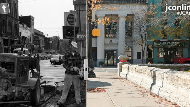 Construction of a new sidewalk and curb along the east side of the Tippecanoe County Courthouse began in May of 1959.