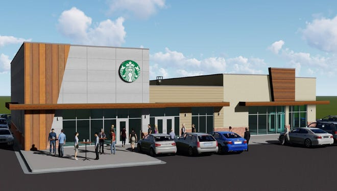 A rendering of the new Starbucks bound for a retail center bound for the intersection of East 10th Street and Bahnson Avenue.