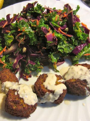 Falafel and tahini with salad from Mediterranean Grill is one of the healthier offerings at the McNamara Terminal at Detroit Metro Airport.