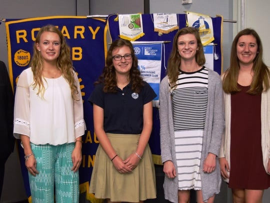 Pictured are September Fond du Lac Noon Rotary Student Guests, with Rotary members, from left: Steve Leaman, Student coordinator of the Fond du Lac Noon Rotary; Anna Maramonte;  Leah Zimmer; Hailey Becker; Natalie Hencke; and Tom Schuppe, president of Fond du Lac Noon Rotary.