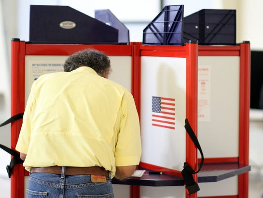A Deming voter marks his ballot during federal elections last November.