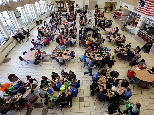 Students at Horace Mann High School in North Fond du Lac typically eat lunch in the school cafeteria. With the shuttering of schools due to the coronavirus, school districts are arranging pick-up points for students to receive bagged meals through the duration of the closure. Gov. Tony Evers directed schools in the state stay closed through April 5.