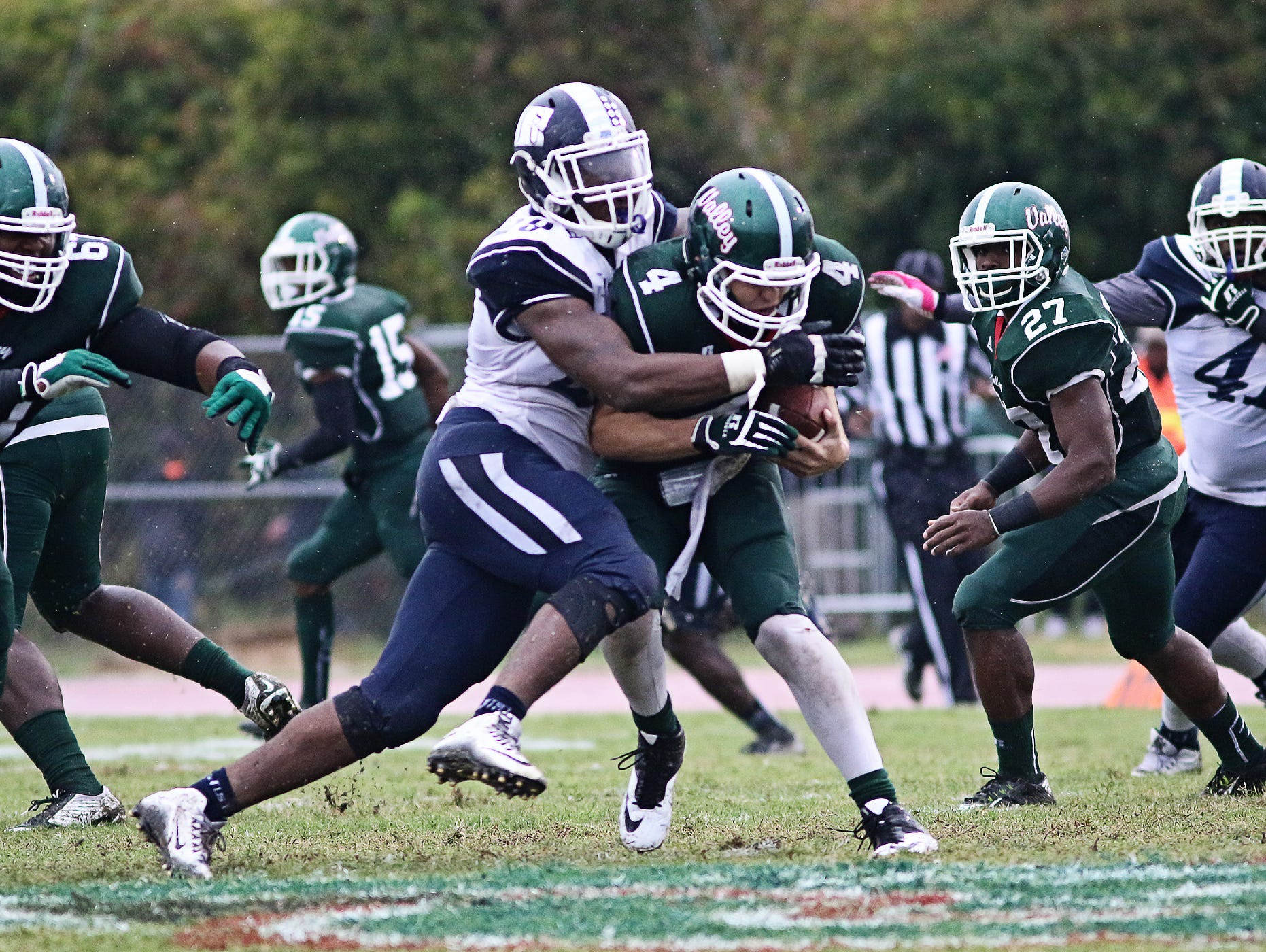Defensive end Javancy Jones, here making a tackle, has been one of the reasons for JSU's improved defensive play recently.