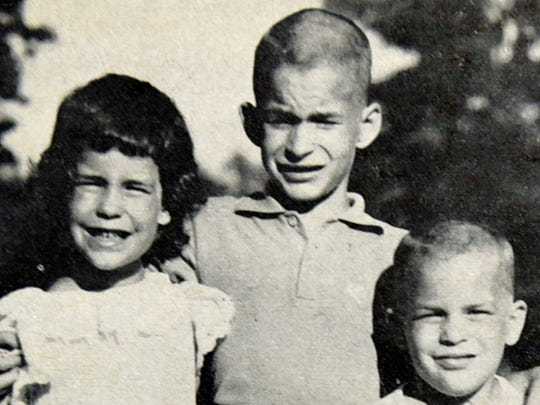 Stan McBeth, center, is flanked by his siblings Kay and Gary as seen in this magazine clipping. Fifty years ago the three siblings were lost in the woods near Roxbury Holiness Campgrounds for about five hours, prompting a massive search.