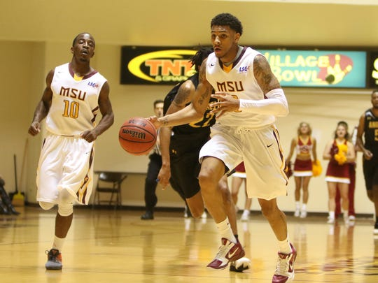 Midwestern State's Brandon Neel dribbles to the basket on a fast break in the game against Angelo State Thursday, Dec. 8, 2016, in D.L. Ligon Coliseum at MSU. Angelo State defeated Midwestern State 75-72.