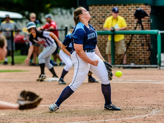 Erin Shuboy of Richmond pitches to an Escanaba batter during their Division 2 state semifinal game Thursday, June 15, 2017, at Seccia Stadium in East Lansing. Shuboy wouldn't give up a hit until the fifth inning and held Escanaba to four hits.