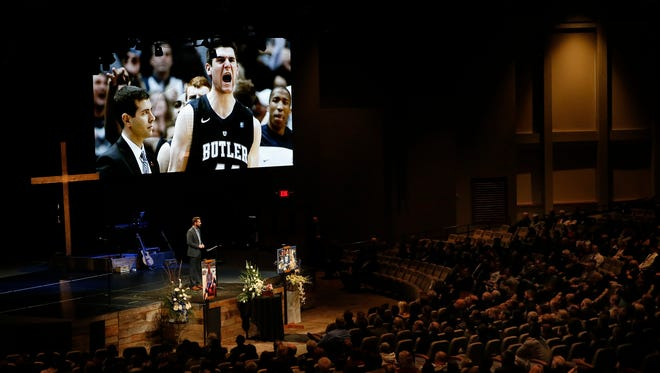 Aaron Brockett, lead pastor at Traders Point Christian Church, talks about Andrew Smith, his family and God during a memorial for the late Andrew Smith held at Traders Point Christian Church in Whitestown on Jan. 17, 2015. Smith, a former Butler center who played in two Final Fours, died Tuesday at age 25 after a two-year battle with cancer.