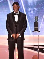 Morgan Freeman accepts the SAG Life Achievement Award