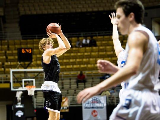 Prattville Christian's Cooper Meadows shoots a 3-pointer