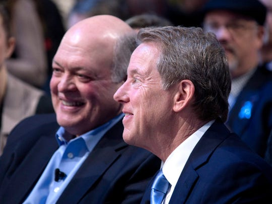 Jim Hackett, President and Chief Executive Officer of Ford Motor Company, with Bill Ford Jr.  during the North American International Auto Show in Detroit in January 2018.