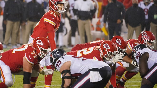 Kansas City Chiefs quarterback Patrick Mahomes (15) readies for a snap during a game against the Houston Texans on Sept. 10 at Arrowhead Stadium in Kansas City.