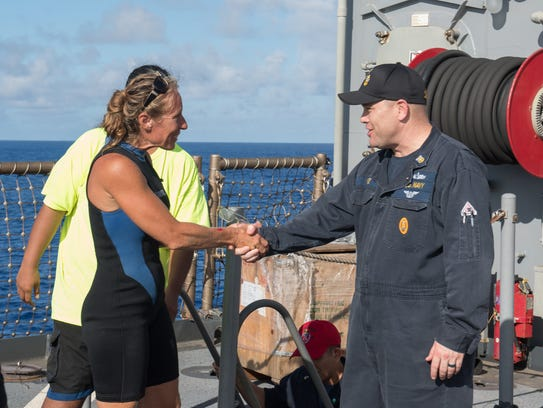 USS Ashland Command Master Chief Gary Wise welcomes