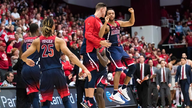 Jan 20, 2018; Stanford, CA, USA; Arizona Wildcats guard Parker Jackson-Cartwright (0) celebrates their win over the Stanford Cardinal at Maples Pavilion. Mandatory Credit: John Hefti-USA TODAY Sports