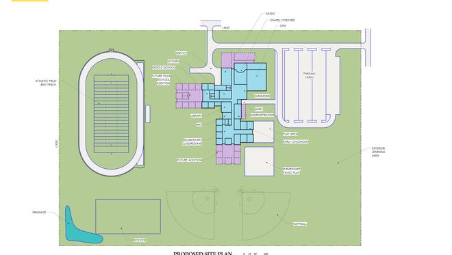 A rendering from Architecture Incorporated shows the proposed site plan for the new Sioux Falls Lutheran School.