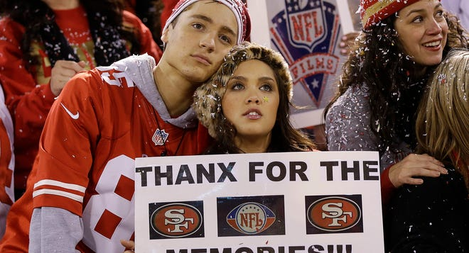 San Francisco 49ers fans watch fireworks at Candlestick Park after the game against the Atlanta Falcons Monday.