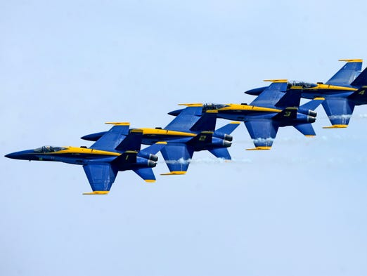 The Blue Angels perform for the crowd Saturday during the Blue Angels Air Show at Pensacola Beach.