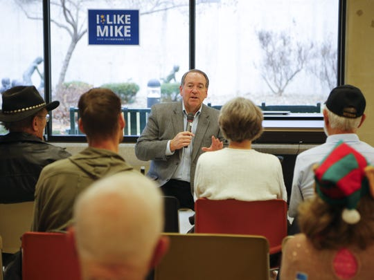 Republican presidential candidate, former Arkansas Gov. Mike Huckabee gives a speech at the Iowa Veterans Home in Marshalltown on Monday, Dec. 21, 2015.