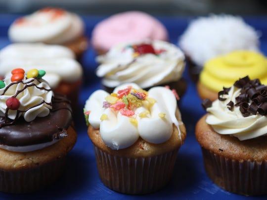A variety of treats are displayed at Mr. Cupcakes at