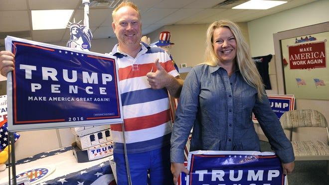 Matt and Meshawn Maddock opened an unofficial Trump campaign field office in Walled Lake. Others have complained of a yard sign shortage.