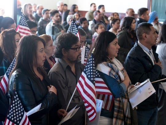 Hilda Hernandez from Mexico, left, was among 32 Iimmigrants from seven countries that became U.S. citizens Friday, February 2, 2018 during the Naturalization Ceremony at Colonel Allensworth Historic Park.