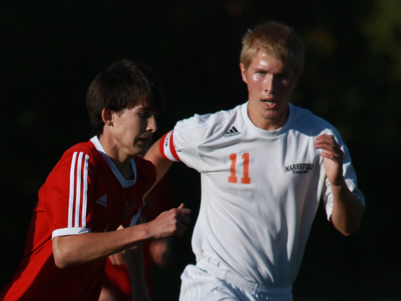 Marshfield's Leo Steiner is a captain on the boys soccer team this fall and is an Oregon transplant.