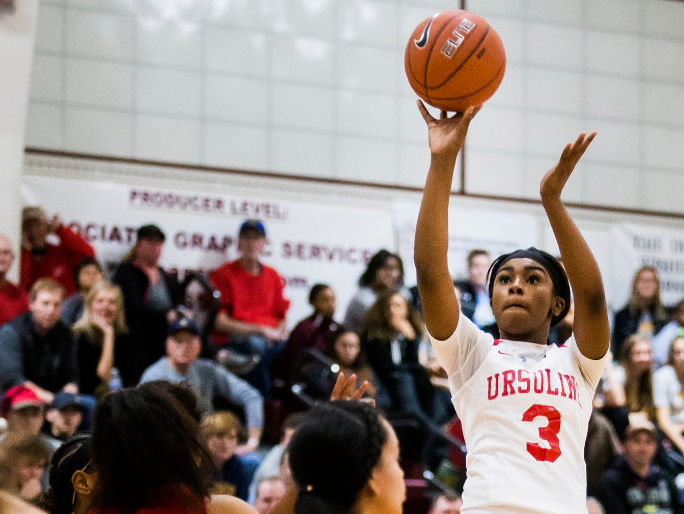 Ursuline's Yanni Hendley-Mccalla puts up a shot in the first half of Ursuline's 39-26 win over Redondo Union High School in the Diamond State Classic at St. Elizabeth High School in Wilmington on Tuesday night.