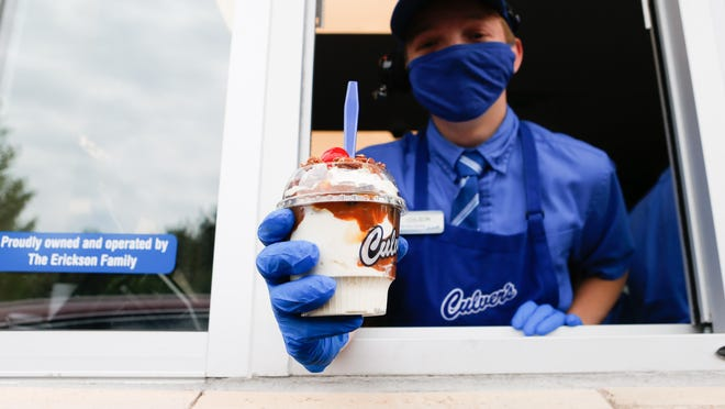 The turtle sundae at Culver's, 1035 S.W. Wanamaker Road, features vanilla frozen custard, hot fudge, caramel and pecans topped with a maraschino cherry (or two) on top. Two scoops cost $5.77 with tax.