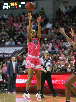 Mississippi State's Victoria Vivians (35) makes a three-pointer in the first half. No. 2-ranked Mississippi State played Texas A&M  in an SEC women's basketball game on Sunday, February 18, 2018 at Humphrey Coliseum in Starkville. Photo by Keith Warren