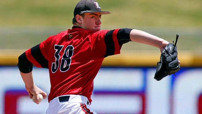 Louisville's Brendan McKay (38) delivers against Florida State during the fifth inning of an Atlantic Coast Conference tournament college baseball game Saturday, May 23, 2015, in Durham, N.C. Florida State won 6-0 to advance to the finals Sunday. (AP Photo/Karl B DeBlaker)