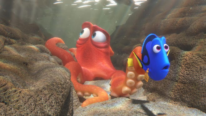 """Hank, voiced by Ed O'Neill, left, and Dory, voiced by Ellen DeGeneres, are seen in """"Finding Dory."""""""