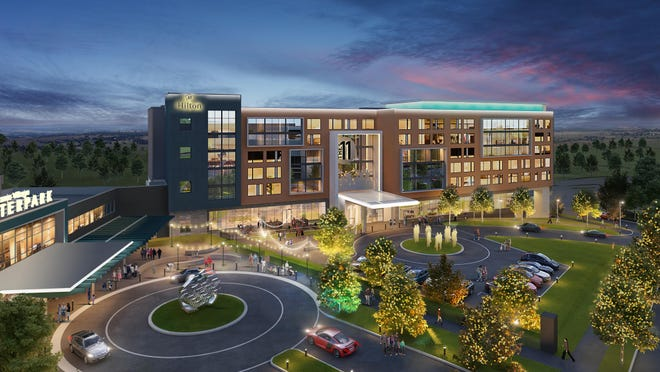An artist's rendering of the Hall of Fame Village includes a hotel and water park.