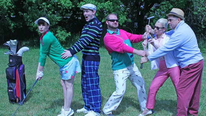 "Starring on the Cortland Repertory Theatre's first summer production in its 45th anniversary season, Ken Ludwig's ""The Fox on the Fairway,"" are (from left) Tayler Beth Anderson, Dan Wilt, Michael Schaefer, Charlie Jhaye and Justin Klose."