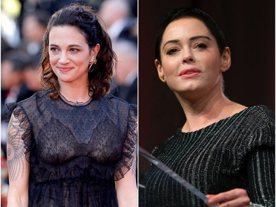 Asia Argento, left, and Rose McGowan are two of the accusers praising 'The New Yorker's exposé on Harvey Weinstein's spy network.