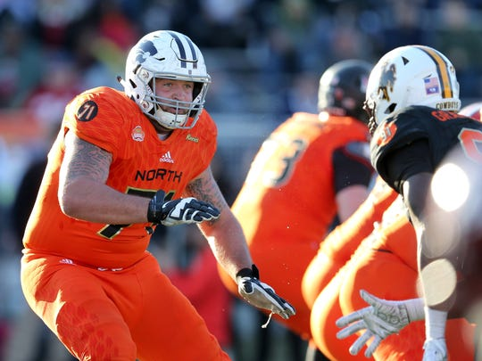Jan 26, 2019; Mobile, AL, United States; North offensive tackle Dalton Risner of Kansas State (71) in the second half of the Senior Bowl at Ladd-Peebles Stadium. Mandatory Credit: Chuck Cook-USA TODAY Sports