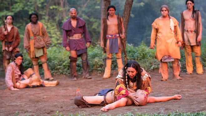 TECUMSEH! actors participate in a dress rehearsal on Wednesday, June 6, 2018, to get ready for their opening night on Friday at the Sugarloaf Mountain Amphitheatre.