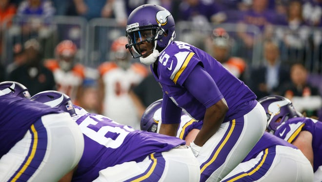 Minnesota Vikings quarterback Teddy Bridgewater calls a play at the line of scrimmage during the second half of an NFL football game against the Cincinnati Bengals, Sunday, Dec. 17, 2017, in Minneapolis. (AP Photo/Bruce Kluckhohn)